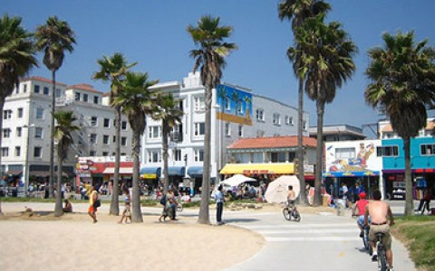 Venice Beach boardwalk and buildings
