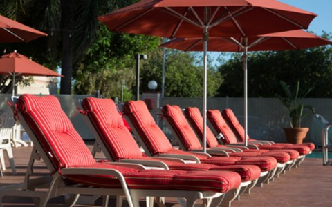 Airtel pool read cushion lounge chairs and umbrellas