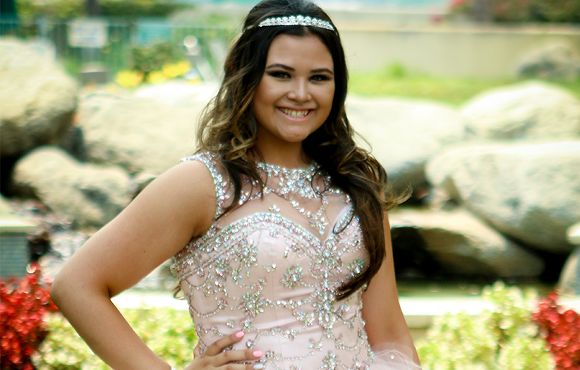 young girl in quinceanera attire