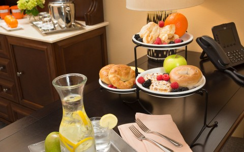 Continental Breakfast on Table in Room