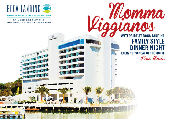 momma viggianos poster with waterstone boca backdrop