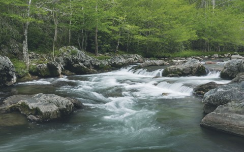 River with large rocks near Smokey Mountains