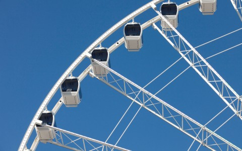 Close up of ferris wheel