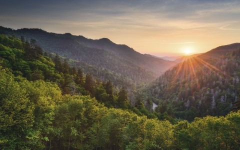 View of Smoky Mountains with sun setting