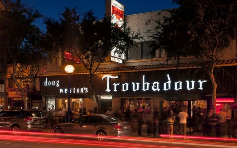 outside building and street night view of doug westons troubadour