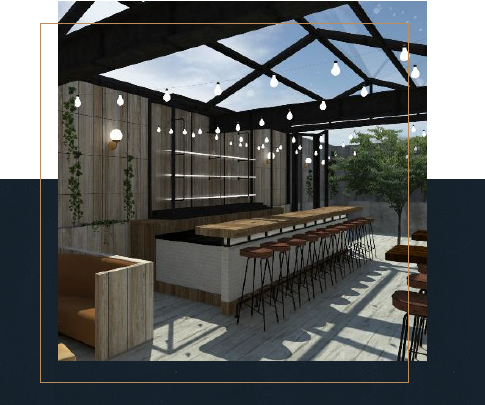 rooftop seating area and bar overlooking NYC