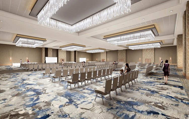 Digital Rendering of Ballroom with rows of chairs