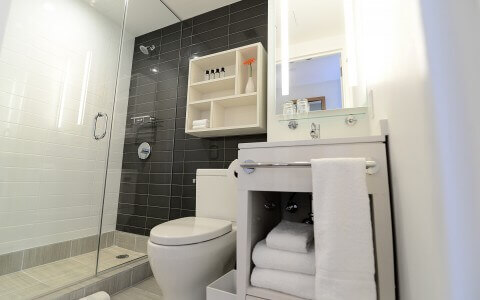 Hotel bathroom with toilet and shower