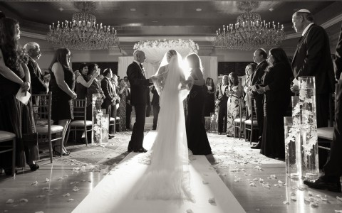 black and white bridal reception photo