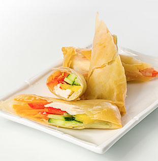 Phyllo pastry with cucumber & tomato