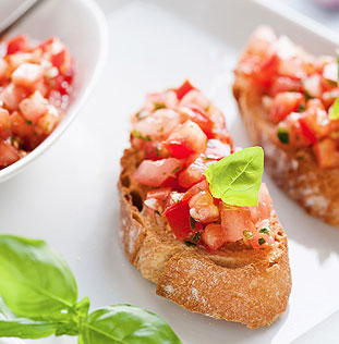 Bruschetta with diced tomato and basil