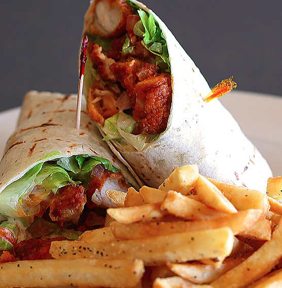 a wrap and french fries