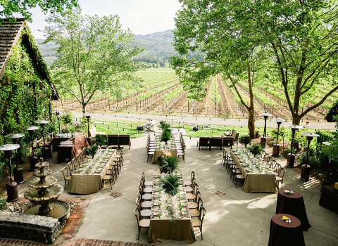wedding reception set up on the outdoor patio