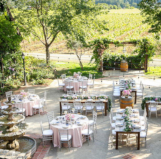 outdoor patio set for wedding reception