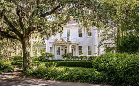 historic savannah home with manicured lawn and large willow tree