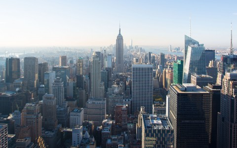 NYC view from above skylines