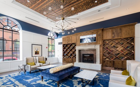 Indigo Baltimore seating by fire place