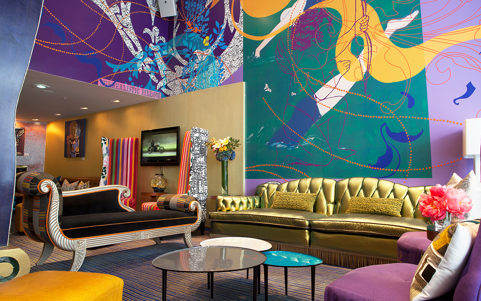 Lobby of triton with funky furniture and artworkHotel Triton San Francisco   Celebrity Inspired Hotel Near Union  . Contemporary Furniture Sfo. Home Design Ideas