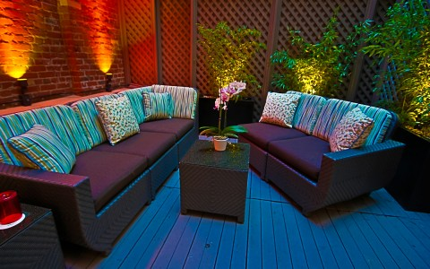 Hotel Triton outdoor couch seating
