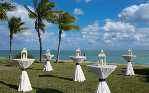 outdoor event set up with white table cloth