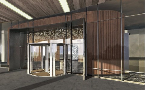 Sketch of hotel entrance with revolving glass door