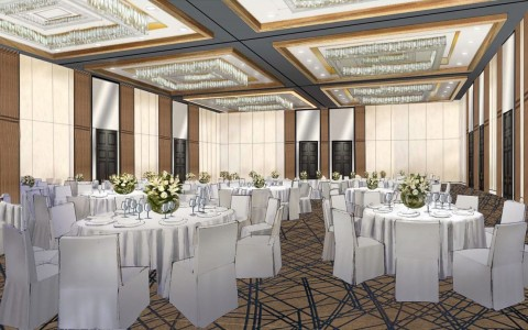 Sketch of event room with circular tables and chairs