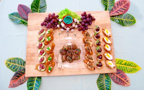 Wooden board with variety of appetizers