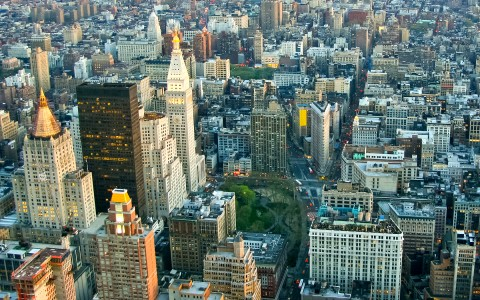 overhead view of nyc buildings