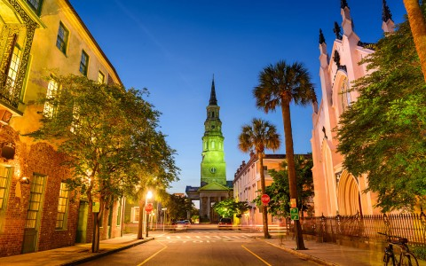 downtown charleston at nigtht