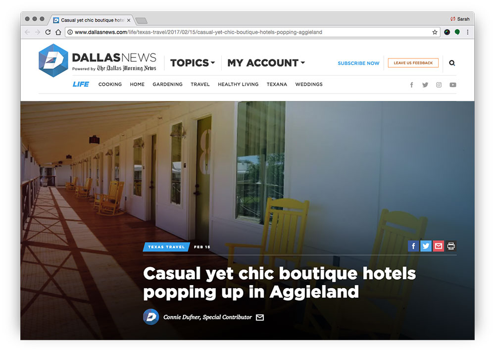Casual yet Chic Boutique Hotels Popping up in Aggieland
