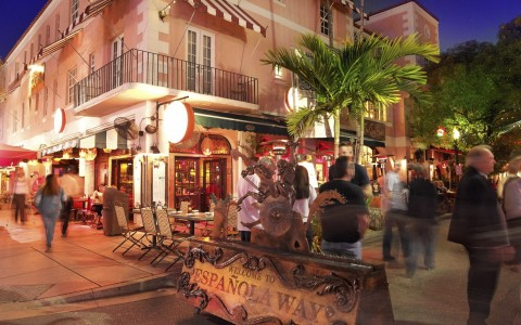 Espanola Way at night